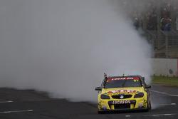 Race winner Shane van Gisbergen with Scott McLaughlin