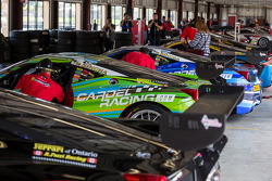 Cars in garage before race
