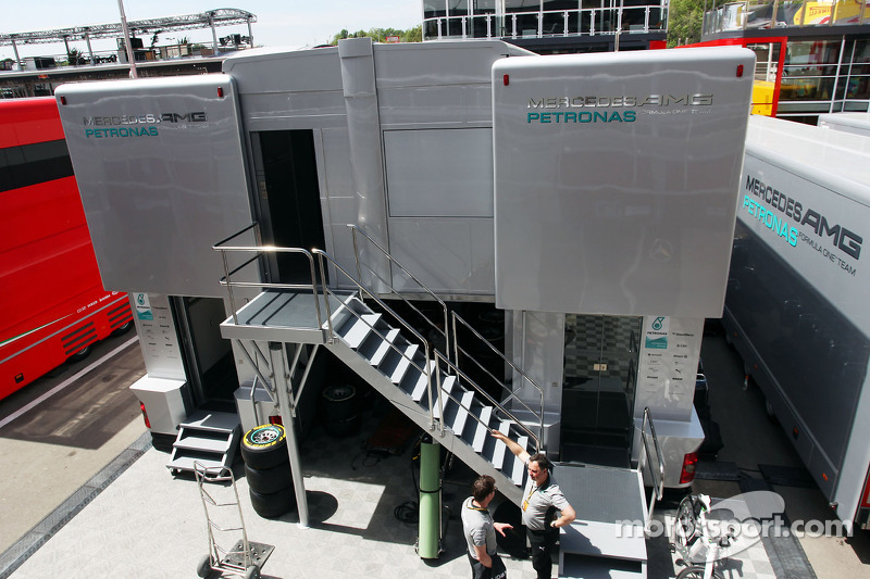 Mercedes AMG F1 truck in the paddock at Spanish GP