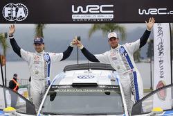 Podium: Andreas Mikkelsen and Mikko Markkula, Volkswagen Polo WRC, Volkswagen Motorsport