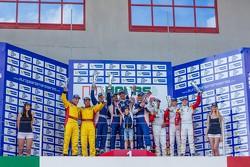 LM GTE podium: race winners Andrea Bertolini, Viktor Shaitar, Serguey Zlobin, Boris Rotenberg, second place Thomas Kemenater, Matteo Cressoni, third place Daniel McKenzie, George Richardson, Daniel Zampieri
