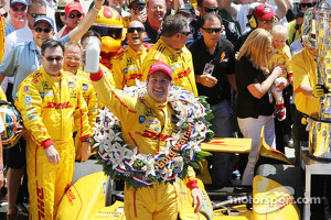Ryan Hunter-Reay of Andretti Auto Sport celebrates with the traditional bottle of milk in Victory Circle after winning the 98th running of the Indianapolis 500 Mile Race