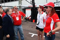 Jean Todt, FIA President with Andrei Cheglakov, Marussia Team Owner; Sasha Cheglakov, Marussia Team Owner and Anya Cheglakov,