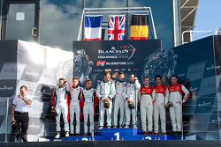 Overall podium: race winners Andy Meyrick, Guy Smith, Steven Kane, second place Kevin Korjus, Kevin Estre, Andy Soucek, third place Marc Basseng, Cesar Ramos, Laurens Vanthoor