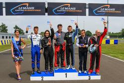 Media/drivers karting race: podium with Christian Klien, Nelson Panciatici and Yannick Dalmas