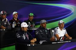 The FIA Press Conference: Adrian Sutil, Sauber; Nico Hulkenberg, Sahara Force India F1; Kamui Kobayashi, Caterham; Felipe Massa, Williams; Lewis Hamilton, Mercedes AMG F1; Jenson Button, McLaren