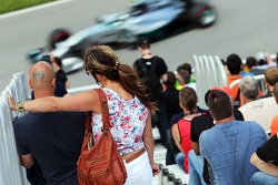Fans in the grandstand watch Nico Rosberg, Mercedes AMG F1 W05