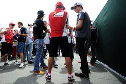 Fernando Alonso, Ferrari and Esteban Gutierrez, Sauber on the drivers parade