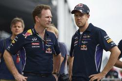 F1: (L to R): Christian Horner, Red Bull Racing Team Principal with Sebastian Vettel, Red Bull Racing