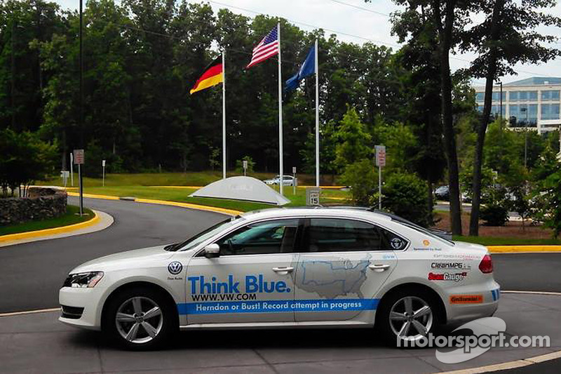 Wayne Gerdes in the VW Passat used to become world record holder for best average fuel mileage
