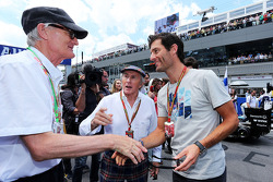 (L to R): Sir James Dyson, Inventor with Jackie Stewart, and Mark Webber, Porsche Team WEC Driver on the grid