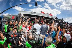 Phoenix Racing team members celebrate victory