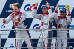 Podium: race winners #4 Phoenix Racing Audi R8 LMS ultra: Christopher Haase, René Rast, Markus Winkelhock celebrate