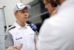 Kevin Magnussen, McLaren with the media