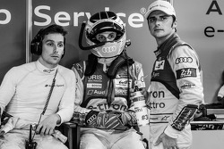 Filipe Albuquerque, Oliver Jarvis and Marco Bonanomi after the crash of Loic Duval