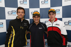 Race winner Mitch Evans, second place Jolyon Palmer, third place Stoffel Vandoorne