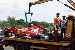 F1: The crashed car of Kimi Raikkonen, Scuderia Ferrari