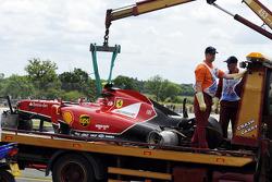 The crashed car of Kimi Raikkonen, Scuderia Ferrari