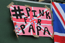 A Pink For Papa banner in tribute to the late John Button (GBR)