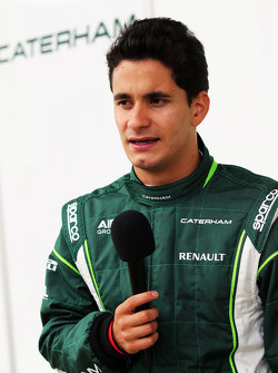 Julian Leal, Caterham F1 Team Test Driver with the media