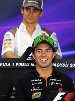 Sergio Perez, Sahara Force India F1 and Esteban Gutierrez, Sauber in the FIA Press Conference