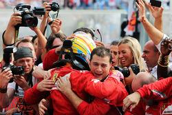 F1: Fernando Alonso, Ferrari celebrates his second position in parc ferme