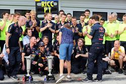 Sebastian Vettel, Red Bull Racing celebrates with the team victory for Daniel Ricciardo, Red Bull Racing