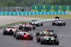 Sergio Perez, Sahara Force India and Sebastian Vettel, Red Bull Racing