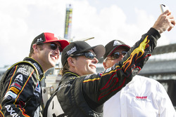 Race winner Jeff Gordon takes a selfie in Victory Lane