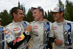Winner Jari-Matti Latvala with second place Sébastien Ogier and Julien Ingrassia