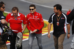 Jules Bianchi, Marussia F1 Team walks the circuit with Dave Greenwood, Marussia F1 Team Race Engineer, and Ted Kravitz, Sky Sports Pitlane Reporter