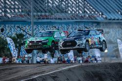 #77 Volkswagen Andretti Rallycross Volkswagen Polo: Scott Speed and #67 Hyundai / Rhys Millen Racing Hyundai Veloster: Rhys Millen
