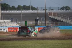 #43 Hoonigan Racing Division Ford Fiesta ST: Ken Block, #77 Volkswagen Andretti Rallycross Volkswagen Polo: Scott Speed
