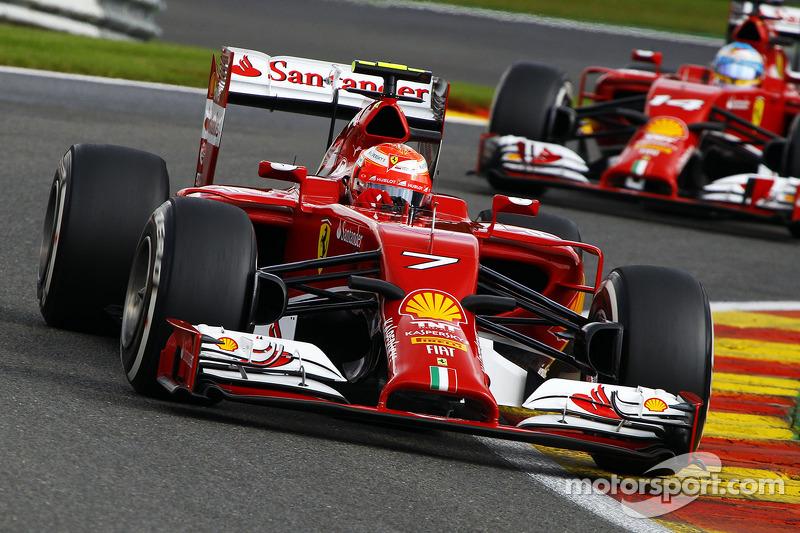 Kimi Raikkonen, Ferrari F14-T leads team mate Fernando Alonso, Ferrari F14-T