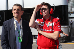 (L to R): Guenther Steiner, Haas F1 Team Prinicipal with Mattia Binotto, Ferrari Race Engine Manager