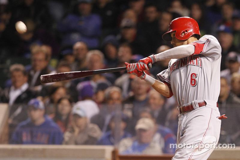 An action photo of the Cincinnati Reds vs. Chicago Cubs baseball game shot by Kurt Busch