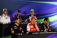 Kimi Raikkonen, Ferrari, yawns during the FIA Press Conference with Jean-Eric Vergne, Scuderia Toro Rosso, and Sergio Perez, Sahara Force India F1, Sauber; Pastor Maldonado, Lotus F1 Team; and Marcus Ericsson, Caterham