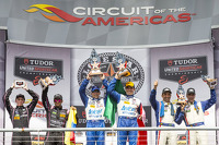P1 podium: winners Scott Pruett, Memo Rojas, second place Alex Brundle, Gustavo Yacaman, third place Christian Fittipaldi, Joao Barbosa