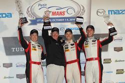 GTD podium: winners Christopher Haase, Bryce Miller, Matt Bell