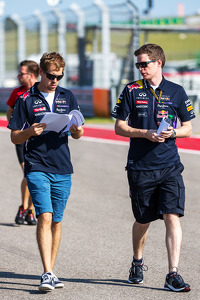 (L to R): Sebastian Vettel, Red Bull Racing with Michael Manning, Red Bull Racing Trackside Control Engineer