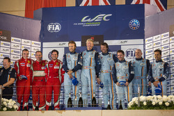 LMGTE Am podium: 1st place Kristian Poulsen, David Heinemeier Hansson, Nicki Thiim; 2nd place Stephen, Michele Rugolo, Andrea Bertolini; 3rd place Paul Dalla Lana, Pedro Lamy, Christoffer Nygaard