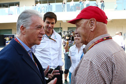 (L to R): Piero Ferrari, Ferrari Vice-President with Toto Wolff, Mercedes AMG F1 Shareholder and Executive Director; Susie Wolff, Williams Development Driver and Niki Lauda, Mercedes Non-Executive Chairman