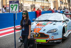 Grid girl with the #97 Aston Martin Racing Aston Martin Vantage V8: Darren Turner, Stefan Mücke