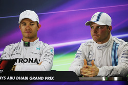 (L to R): Nico Rosberg, Mercedes AMG F1 with Valtteri Bottas, Williams in the FIA Press Conference