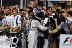 Valtteri Bottas, Williams celebrates his third position with the team in parc ferme