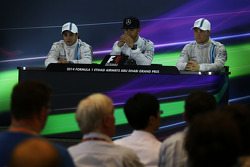 The post race FIA Press Conference: Felipe Massa, Williams, second; Lewis Hamilton, Mercedes AMG F1, race winner and World Champion; Valtteri Bottas, Williams, third