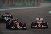 Fernando Alonso, Ferrari F14-T and team mate Kimi Raikkonen, Ferrari F14-T battle for position