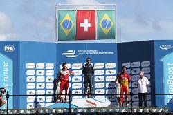 Podium: race winner Sebastien Buemi, e.dams-Renault, second place Nelson Piquet Jr., China Racing, third place Lucas di Grassi, Audi Sport ABT