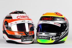 Helmets of Nico Hulkenberg, Sahara Force India F1 and Sergio Perez, Sahara Force India F1