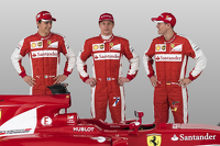 Esteban Gutierrez, Kimi Raikkonen, Sebastian Vettel with the Ferrari SF15-T